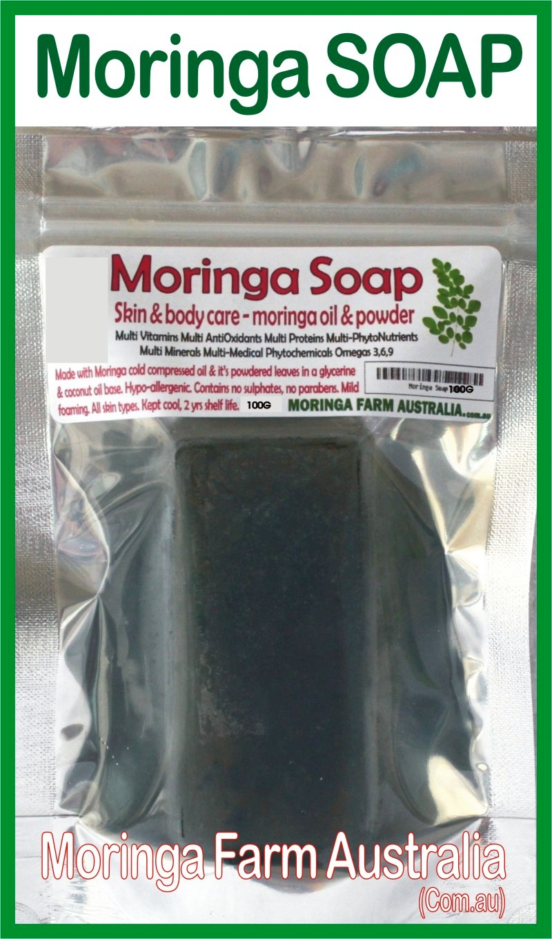 Moringa SOAP 1 X 100G - Moringa seed oil & ground leaf prep.